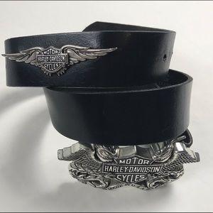 Harley-Davidson black leather and metal belt